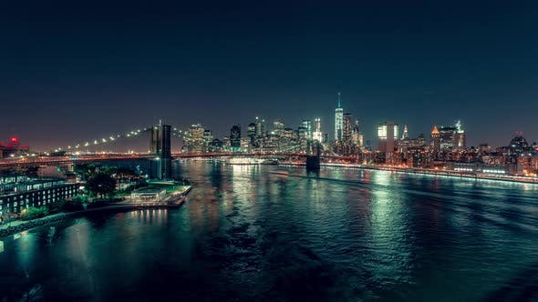 Thumbnail for New York City, USA - Lower Manhattan at Night