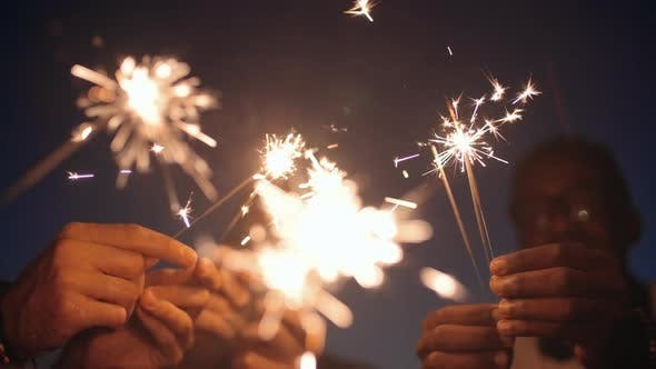 Cover Image for People with Sparklers Celebrating