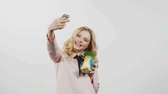 Beautiful Blonde Makes Selfie