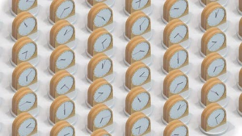 Many Same Wooden Clocks Showing Different Time