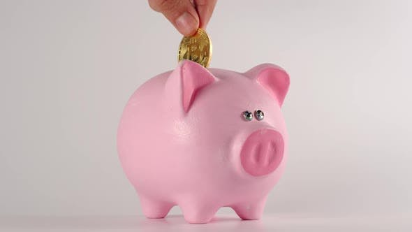 Thumbnail for Male hand throws bitcoin into a pink piggy moneybox