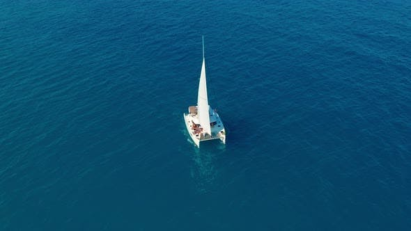 Thumbnail for Catamaran Sailing on the Sea. Aerial Shoot of the Catamaran Sailing in the Wind.