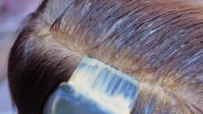 Hair Coloring of Elderly Woman