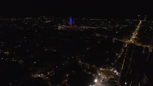 Aerial cityscape of Barcelona at night