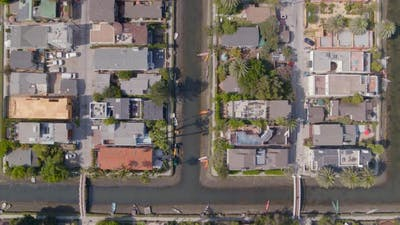 Aerial of street and residential houses