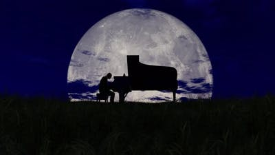 Silhouette Of A Man Playing Piano With The Huge Moon