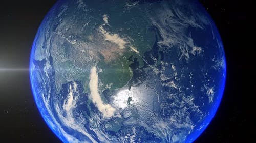 Realistic Earth Zoom Out Clouds China Shangai