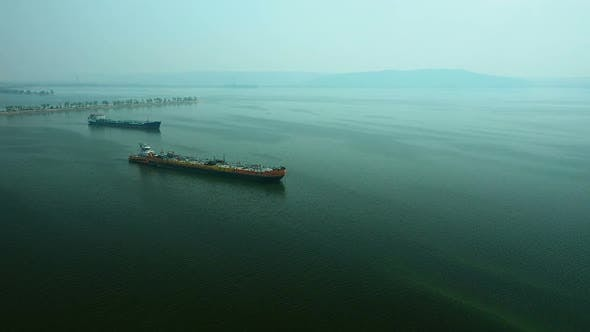 Thumbnail for Aerial View, Barges with Cargo Are in the Sea. Cargo Barges Are on the Water, Water Transport.