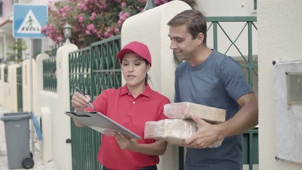 Thumbnail for Happy Courier Girl in Red Cap Delivering Package