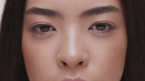 Close Up Portrait of Young Asian Woman Looking To Camera