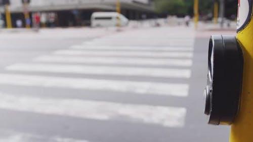 African American man crossing on the zebra crossing