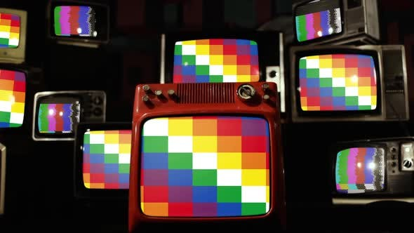 The Wiphala, Official Variant Flag of Bolivia, on Retro TVs.