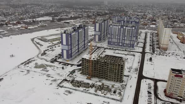 Aerial View of the Construction of a High Residential Building
