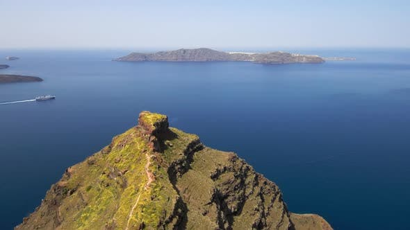 Aerial view of Skaros Rock at Santorini island