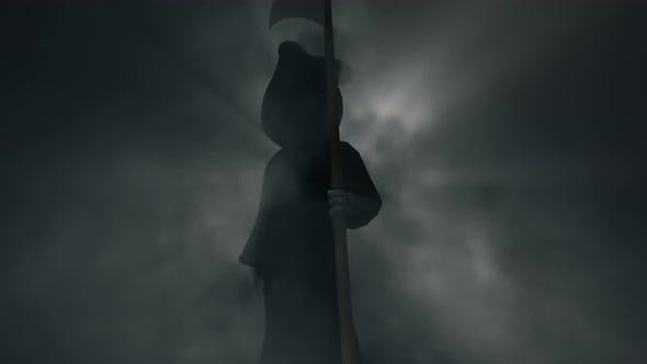 Halloween Death Grim Reaper Idle In Scary Foggy Background 4k