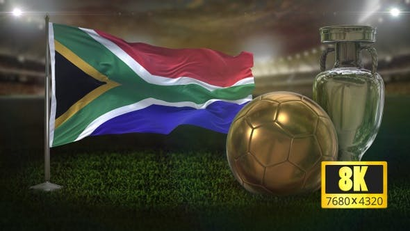 8K South Africa Flag with Football And Cup Background Loop