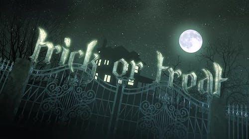 Animation Text Trick oder Treat und mystischen Horror Hintergrund mit dem Haus und Mond