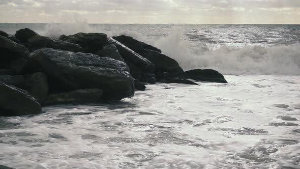 Thumbnail for the Wave Is Broken on the Breakwater on the Shore