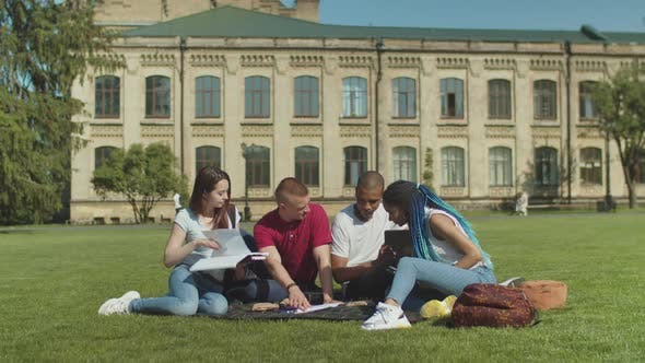 Thumbnail for College Students Studying Sitting on Green Lawn