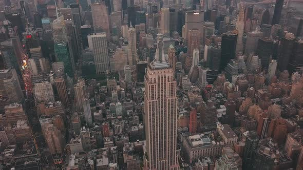 Thumbnail for AERIAL: Close Up of Empire State Building with Midtown Manhattan, Times Square in the Background at