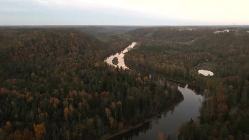 Scary Halloween Flight Out Over Beutiful River Valley in Europe