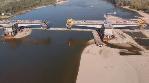 Aerial Bridge Construction Site 09
