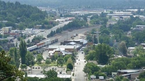 Flagstaff Arizona Aerial View of Train and City