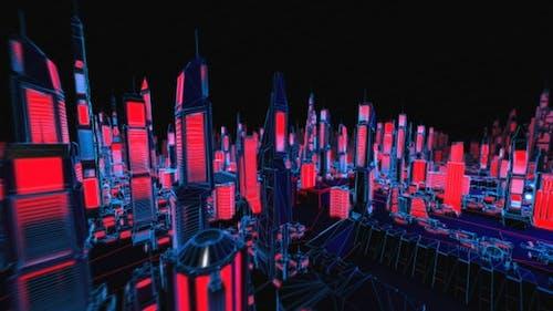 4K Structure Neon Cityscape
