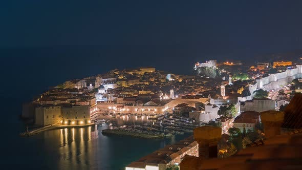 Thumbnail for Dubrovnik Old City Night View, Travel Destination, Mediterranean Sea, Croatia