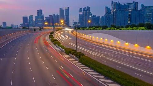 Evening Traffic on Multi-Lane Highway