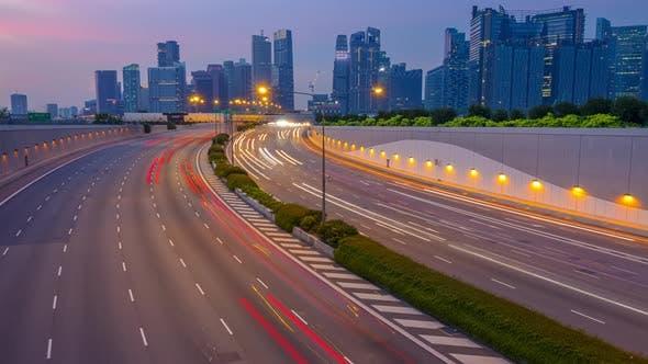 Thumbnail for Evening Traffic on Multi-Lane Highway