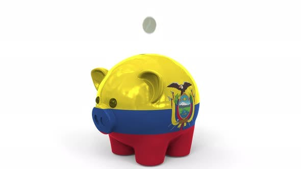 Thumbnail for Coins Fall Into Piggy Bank Painted with Flag of Ecuador