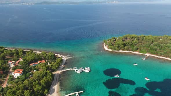 Thumbnail for Aerial View Drone Footage of the Blue Lagoon in the Adriatic Sea, Croatia
