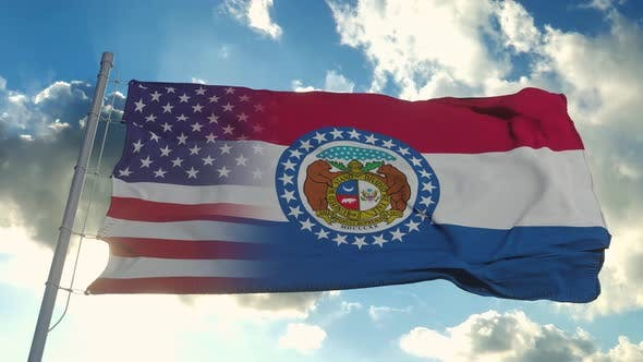 Flag of USA and Missouri State