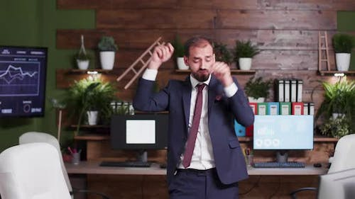 Silly Businessman Dances Happily