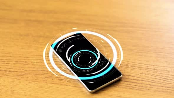 Thumbnail for Smartphone with Virtual Circuit Hologram on Table