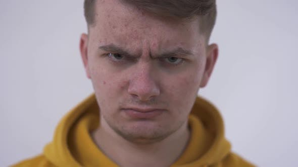 Thumbnail for Nervous, Doubtful, Unhappy, Frustrated Man Frowning His Eyebrow