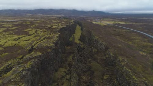 Fissures and Cracks in Thingvellir National Park. Iceland. Aerial View