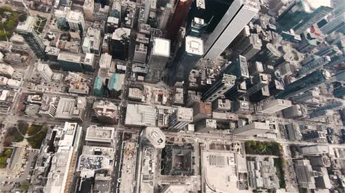 Toronto, Canada, Aerial  - Bird's eye view of the Dundas Square during the day