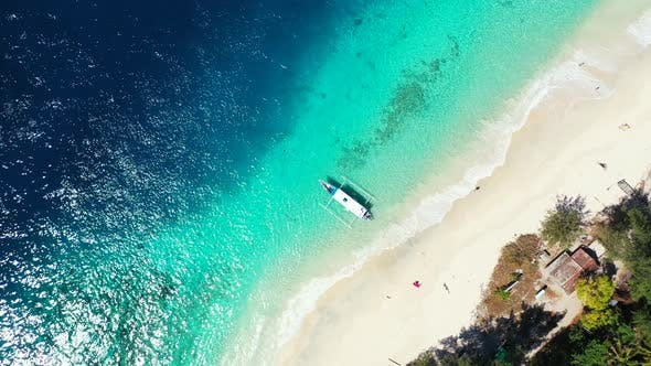 Thumbnail for Luxury overhead copy space shot of a white sandy paradise beach and blue water background in vibrant