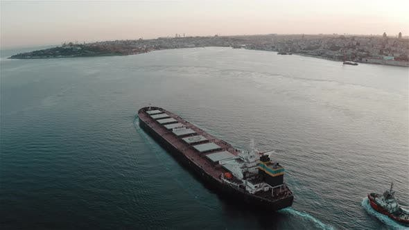 Thumbnail for Aerial View of Dry Cargo Ship and Istanbul Bosphorus.  Footage in Turkey