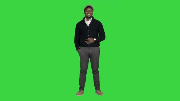 Happy African American Businessman Smiling on a Green Screen Chroma Key