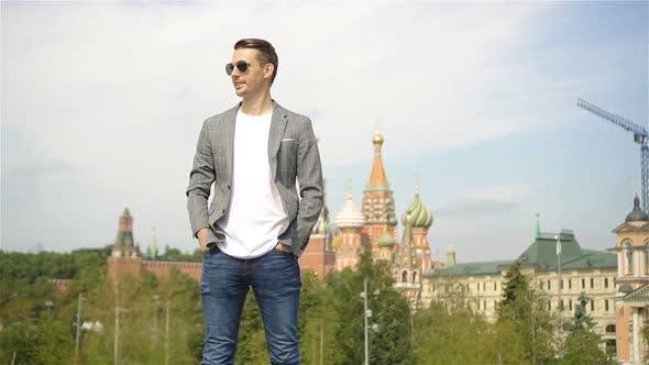 Happy Young Urban Man in European City.