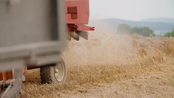 Thumbnail for Combine Harvester on Field at Farm