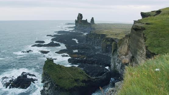 Londrangar Cliffs Located in Snaefellsness Peninsula Iceland