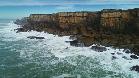Atlantic Coast with Rock Cliffs and Waves