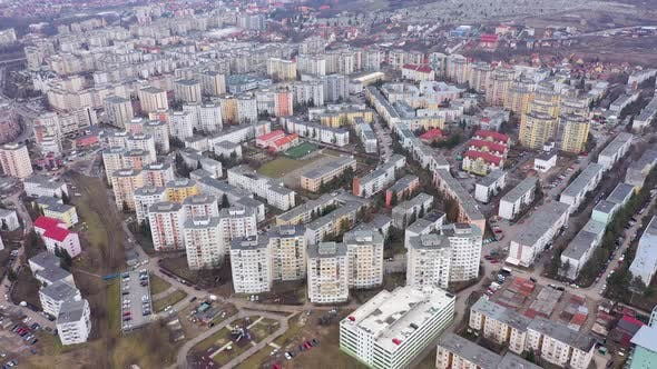 Cover Image for Flying Over a Communist Residential Area, Flat of Blocks, Cluj Napoca, Romania
