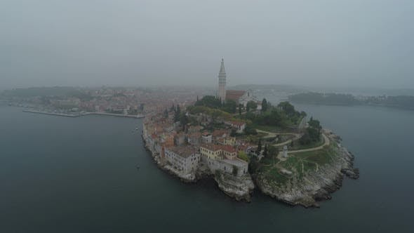 Thumbnail for Aerial view of Rovinj surrounded by water