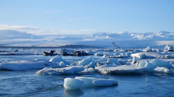 Thumbnail for Icebergs at Ice Lake. Ice and Snow Winter Nature Landscape. Ice Lagoon