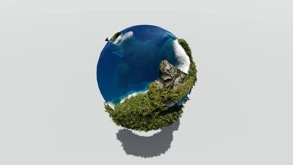A rotating earth with seas and islands